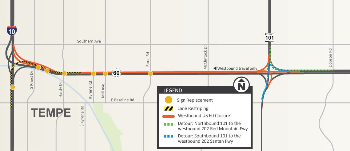 Westbound Us 60 Closing For Weekend From Loop 101 To I 10 - Us-60-map