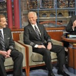 "U.S. Airways Flight 1549 Captain Chesley ""Sully"" Sullenberger, center, looks at his First Officer Jeffrey B. Skiles, left, as host David Letterman reacts to an answer on the set of ""The Late Show with David Letterman,"" Tuesday, Feb. 10, 2009 in New York. Sullenberger and Skiles recounted the events of Jan. 15, 2009 as they successfully put their Airbus A320 down in the Hudson River after it struck a flock of birds that shut down its engines. (AP Photo/CBS, J.P. Filo)"