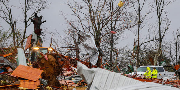 Debris lies outside what's left of Rosalie Church of God, on Sunday, Dec. 4, 2016, in Rosalie, Ala. A tornado ripped through the town destroying the church and killing three people on Wednesday, Nov. 30. (AP Photo/Brynn Anderson)