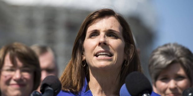 FILE - In this March 16, 2016 file photo, Rep. Martha McSally, R-Ariz. speaks on Capitol Hill in Washington. Donald Trump's incendiary comments about women over the years are causing heartburn for many Republicans. But they're raising especially awkward problems for the five female House GOP lawmakers facing competitive re-election battles this year. (AP Photo/Molly Riley, File)