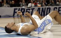 North Carolina's Kennedy Meeks celebrates during the second half in a second-round game against Arkansas in the NCAA men's college basketball tournament in Greenville, S.C., Sunday, March 19, 2017. (AP Photo/Chuck Burton)