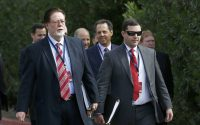 San Francisco 49ers owners John York, left, and Jed York, right, arrive for sessions at the NFL football annual meetings, Monday, March 27, 2017, in Phoenix. (AP Photo/Ross D. Franklin)
