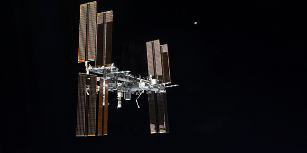 This July 19, 2011 photo of the International Space Station was taken from the space shuttle Atlantis after it left the orbiting complex. NASA ordered up urgent spacewalking repairs at the International Space Station. (NASA via AP)