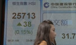 A woman walks by an electronic stock board showing the Hang Seng Index at a bank in Hong Kong, Friday, June 23, 2017. Asian shares are ending the week on a subdued note with most indexes little changed Friday as the price of oil halted its decline, while still hovering near its lowest level in almost a year. (AP Photo/Kin Cheung)