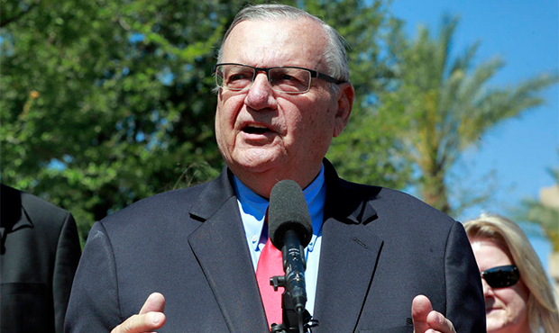 FILE - In this May 22, 2018 file photo, former Maricopa County Sheriff Joe Arpaio speaks during a c...