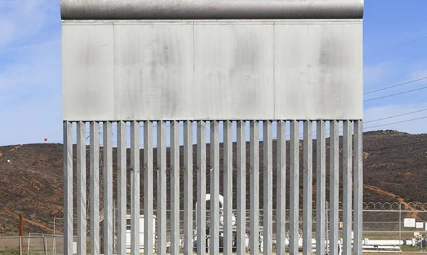 A border wall prototype stands in San Diego near the Mexico-U.S. border, seen from Tijuana, Mexico,...