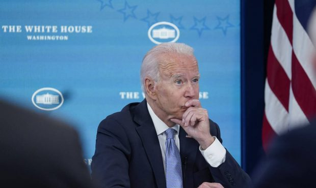 President Joe Biden listens during an event in the South Court Auditorium on the White House comple...