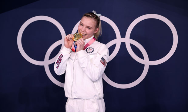 Gold Medalist Jade Carey of Team USA poses with her medal after winning the Women's Floor Final on ...