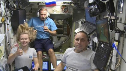 FILE - In this Oct. 7, 2021, file photo taken from video footage released by Roscosmos Space Agency...
