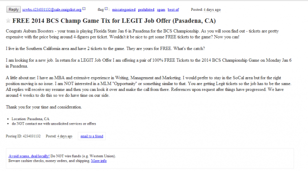 Southern California man selling tickets to BCS title game for full-time job